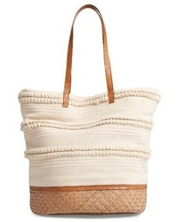 Sole Society Woven Bottom Tote Blue