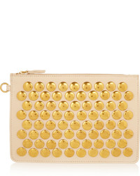 Beige Studded Leather Clutch