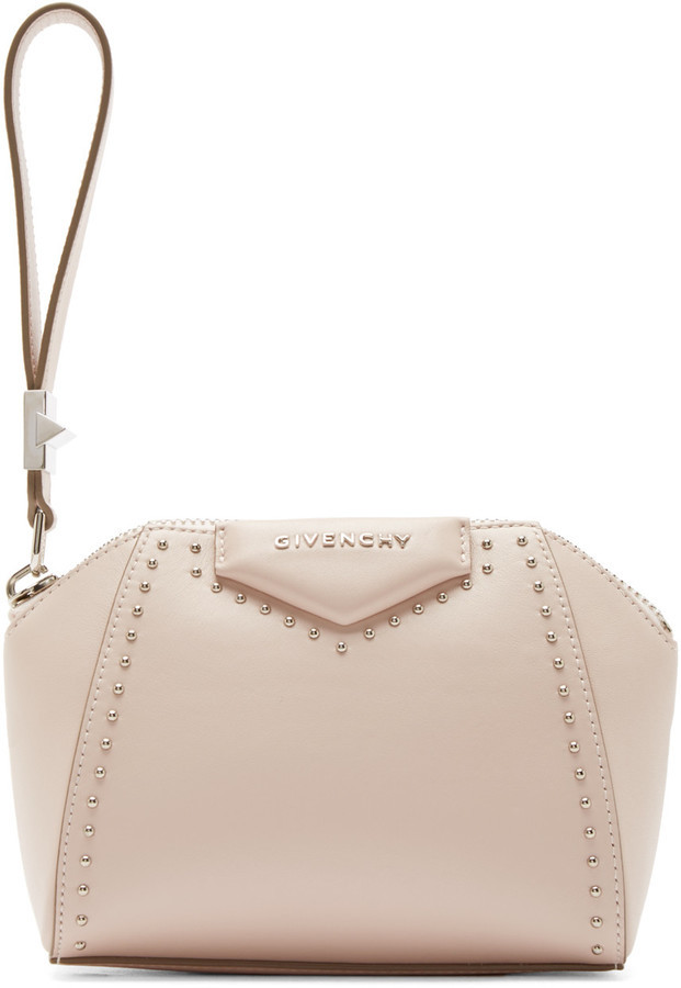 8cc1004180 ... Leather Clutches Givenchy Pink Studded Antigona Beauty Clutch ...