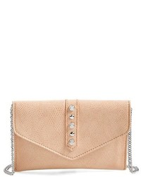 Beige Studded Leather Crossbody Bag
