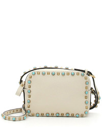 Rockstud turquoise studded camera crossbody bag ivory medium 524803