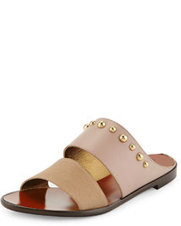 Studded double band sandal beige medium 270098