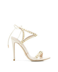 Beige Studded Leather Heeled Sandals