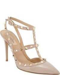 Beige Studded Leather Pumps