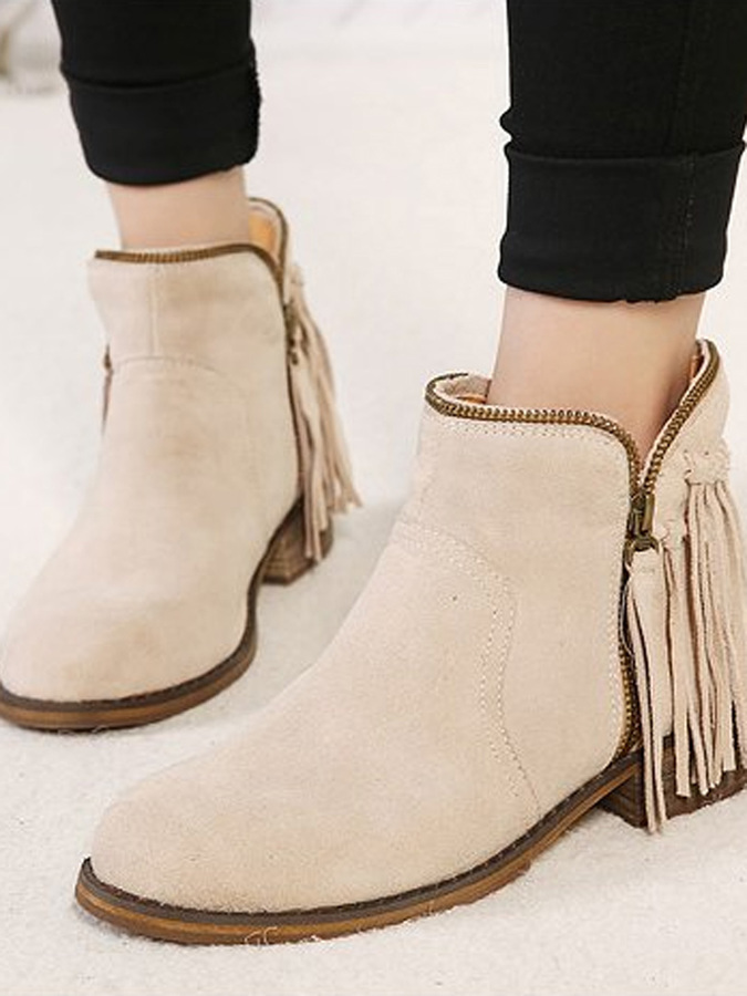 Choies Beige Tassel Zipper Suede Ankle Boots | Where to buy & how ...