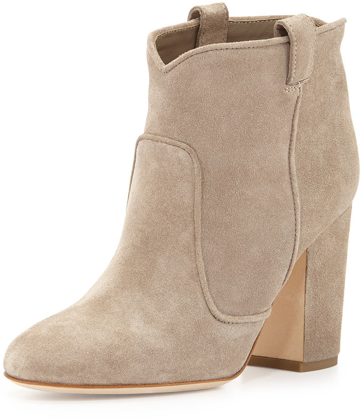 Laurence Dacade Pete Western Distressed Suede Ankle Boot Beige ...