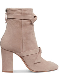 Alexandre Birman Lorraine Knotted Suede Ankle Boots Beige