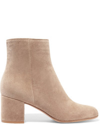 Gianvito Rossi Margaux 65 Suede Ankle Boots Beige