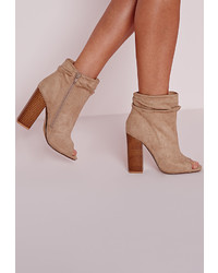 Missguided Ruched Detail Peep Toe Ankle Boots Nude