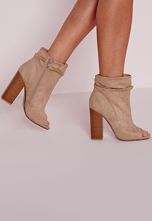 Missguided Ruched Detail Peep Toe Ankle