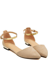 Choies Beige Suede Pointed Flat Shoes With Metallic Ankle Strap