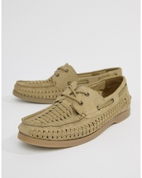 ASOS DESIGN Boat Shoes In Stone Suede With Woven Detail