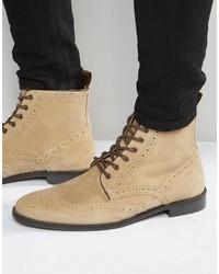 Beige Suede Brogue Boots
