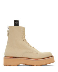 R13 Beige Single Stack Boots