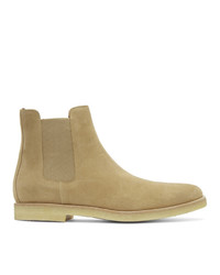 Common Projects Beige Suede Chelsea Boots