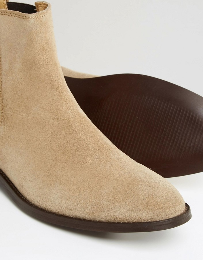 d93ddd27a13 Chelsea Boots In Stone Suede With Back Pull