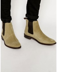 Asos Chelsea Boots In Stone Suede With Back Pull Wide Fit Available