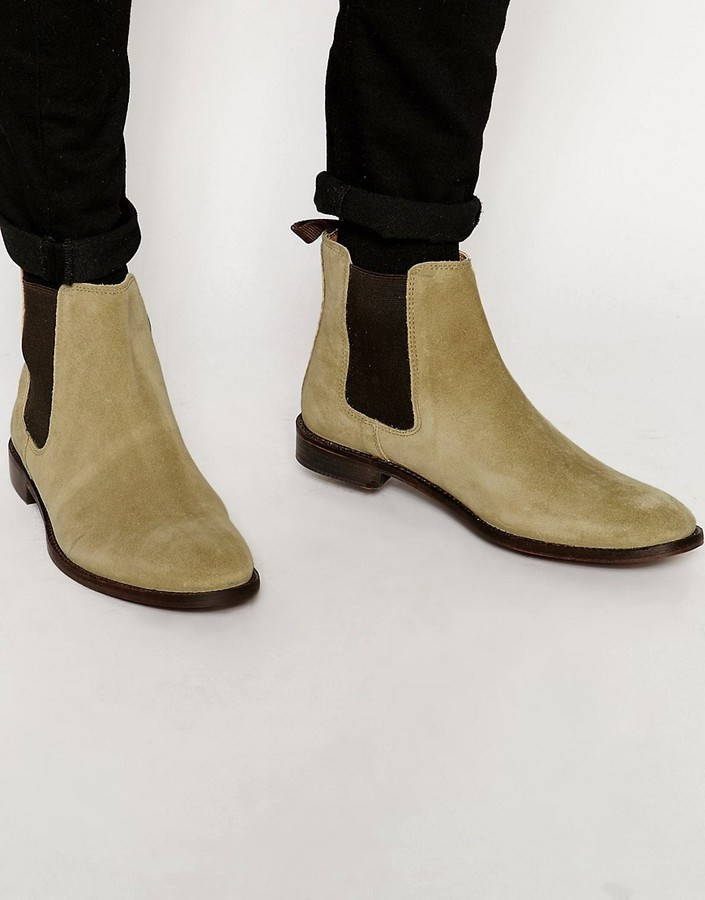 dbbde82ca55 ... Asos Chelsea Boots In Stone Suede With Back Pull Wide Fit Available ...