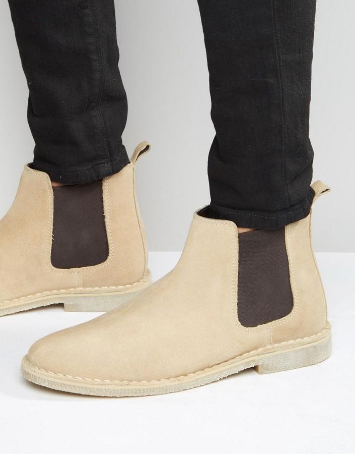 Asos Chelsea Desert Boots In Stone