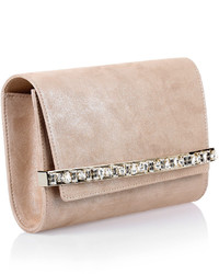 Jimmy Choo Bow Shimmer Suede Clutch