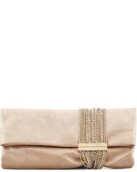 Jimmy Choo Chandra Shimmer Suede Chain Clutch Bag Champagne