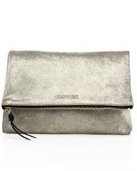 Jimmy Choo Shimmer Suede Fold Over Clutch