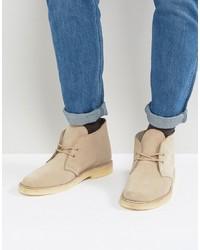 Clarks Originals Clarks Suede Desert Boots In Beige