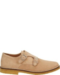 Suede double monk shoes nude size 8 medium 277847