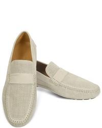 Moreschi Portofino Beige Perforated Suede Driver Shoes