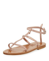 K. Jacques Gina Metallic Suede Gladiator Sandal Rose Gold