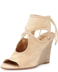Sexy thing suede 85mm wedge sandal nude medium 444797