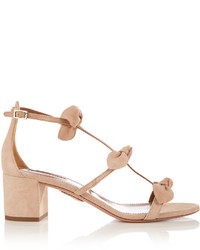 Aquazzura St Tropez Bow Embellished Suede Sandals