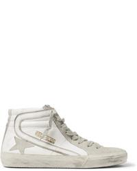 Beige Suede High Top Sneakers