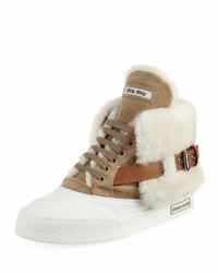 Miu Miu Suede Two Tone High Top Sneaker Beige