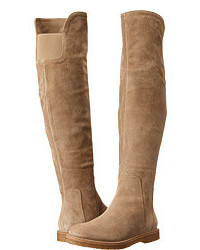 Beige Suede Knee High Boots