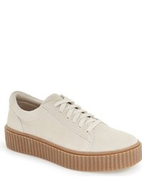 Beige Suede Low Top Sneakers