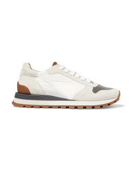 Brunello Cucinelli Bead Embellished Nylon Suede And Leather Sneakers