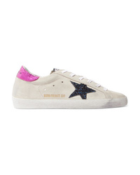 Golden Goose Deluxe Brand Med Glittered Distressed Suede Sneakers