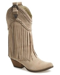 Beige Suede Mid-Calf Boots