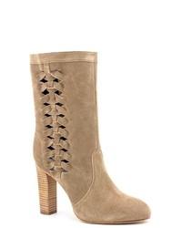 Delman Riley Gray Suede Fashion Mid Calf Boots