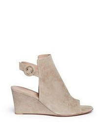 Gianvito Rossi Suede Wedge Sandal Booties