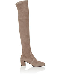 Beige Suede Over The Knee Boots