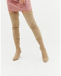 Missguided Over The Knee Faux Suede Heeled Boots In Beige