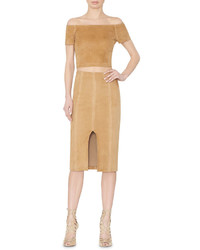 Beige Suede Pencil Skirt