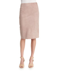 Ralph Lauren Collection Cynthia Suede Pencil Skirt Rose