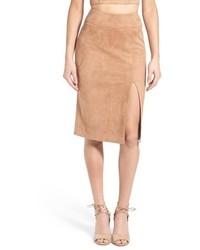 Soprano Faux Suede Midi Skirt Size Medium Brown