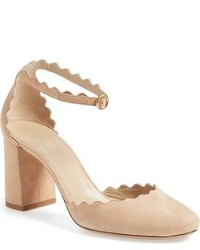 Chloé Chloe Scalloped Ankle Strap Dorsay Pump