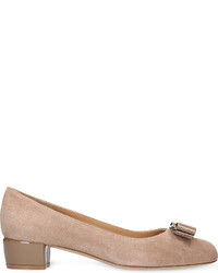 Salvatore Ferragamo Vara 1 Bow Suede Court Shoes