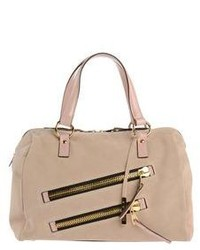 Beige Suede Satchel Bag
