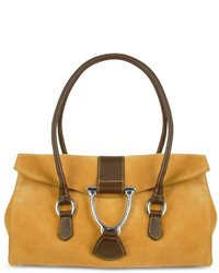 Buti Camel Suede And Leather Satchel Bag